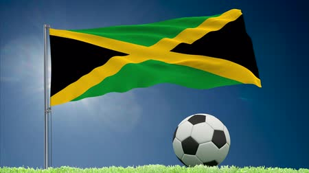 felhőtlen : Flag of Jamaica fluttering and a fsoccer ball rolls on the lawn, 3d rendering Stock mozgókép