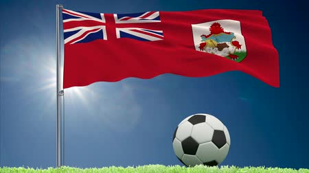 bermudas : Flag of Bermuda fluttering and a fsoccer ball rolls on the lawn, 3d rendering