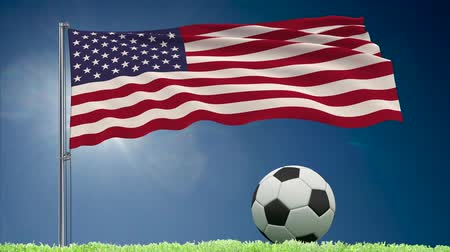 felhőtlen : Flag of United States of America fluttering and a fsoccer ball rolls on the lawn, 3d rendering