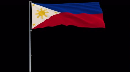 núpcias : Isolate big flag of Philippines on a flagpole fluttering in the wind on a transparent background, 3d rendering, 4k prores 4444 footage with alpha transparency Stock Footage