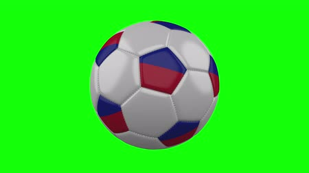 príncipe : Soccer ball with Haiti flag rotates on green chroma key background, loop