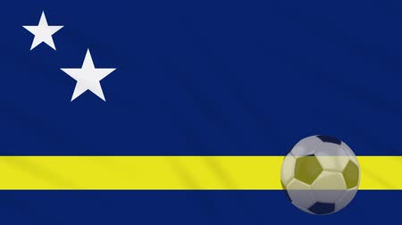 curacao : Curacao flag and soccer ball rotates against background of a waving cloth, loop