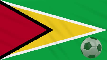 guyana : Guyana flag and soccer ball rotates against background of a waving cloth, loop Stock Footage