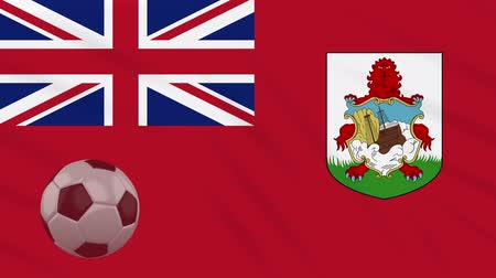 bermudas : Bermuda flag and soccer ball rotates against background of waving cloth, loop