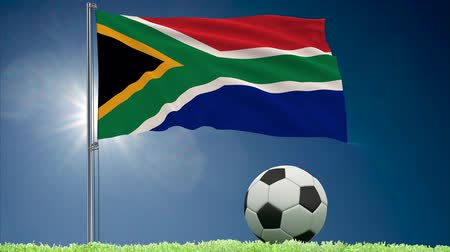 oficial : Flag of South Africa fluttering and soccer ball rolls on lawn, 3d rendering Stock Footage