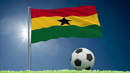 oficial : Flag of Ghana fluttering and soccer ball rolls on lawn, 3d rendering