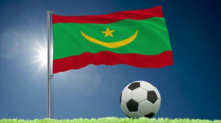 bulutsuz : Flag of Mauritania fluttering and soccer ball rolls on lawn, 3d rendering Stok Video