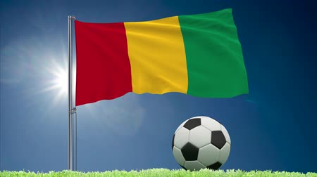 felhőtlen : Flag of Guinea fluttering and soccer ball rolls on lawn, 3d rendering