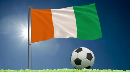 marfim : Flag of Ivory Coast - Cote dIvoire fluttering and soccer ball rolls on lawn, 3d rendering