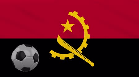 oficial : Angola flag and soccer ball rotates against background of a waving cloth, loop Stock Footage
