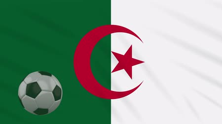 algeria : Algeria flag and soccer ball rotates against background of a waving cloth, loop Stock Footage