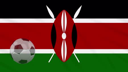 vlastenectví : Kenya flag and soccer ball rotates against background of a waving cloth, loop