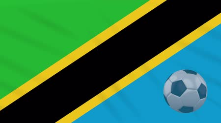 ações : Tanzania flag and soccer ball rotates against background of a waving cloth, loop Stock Footage
