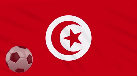 tunus : Tunisia flag and soccer ball rotates against background of a waving cloth, loop Stok Video