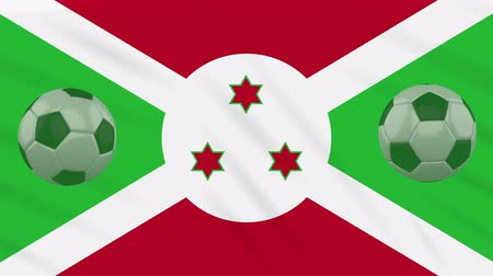 애국심 : Burundi flag and soccer balls rotates against background of a waving cloth, loop 무비클립