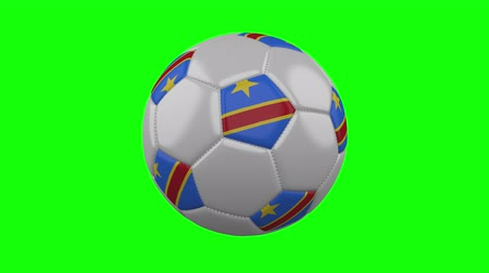 tek bir nesne : Soccer ball with Democratic Republic of Congo flag rotates on green chroma key background, loop