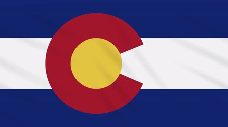 národní vlajka : Colorado flag flutters in the wind, loop for background