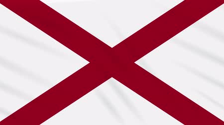 alabama : Alabama flag flutters in the wind, loop for background Stock Footage