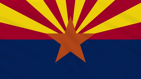 world cup : Arizona flag flutters in the wind, loop for background Stock Footage