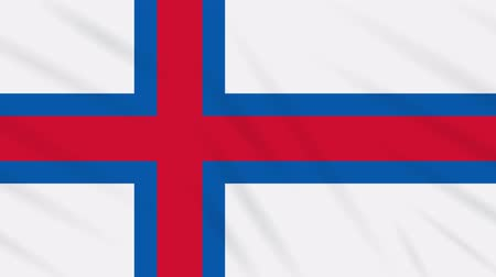 torshavn : Faroe Islands flag waving cloth, ideal for background, loop Stock Footage