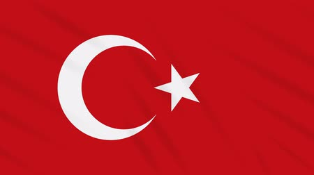 proportions : Turkey flag waving cloth, ideal for background, loop Stock Footage