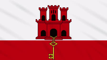 iberian : Gibraltar flag waving cloth, ideal for background, loop