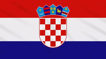 ザグレブ : Croatia flag waving cloth, ideal for background, loop