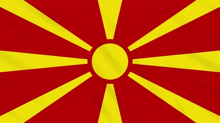 végső : Republic of Northern Macedonia flag waving cloth, ideal for background, loop