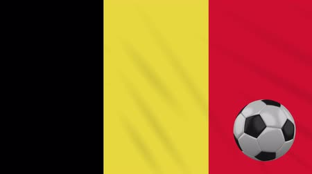 bruxelas : Belgium flag and soccer ball rotates against background of a waving cloth, loop