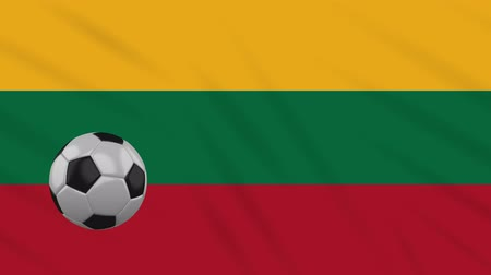 決勝 : Lithuania flag and soccer ball rotates against background of a waving cloth, loop