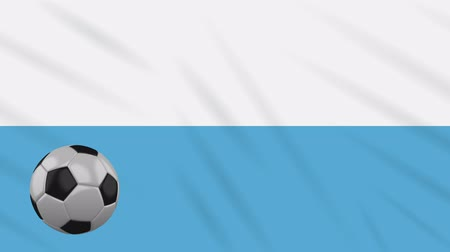 final : San Marino civil flag and soccer ball rotates against background of a waving cloth, loop Stock Footage