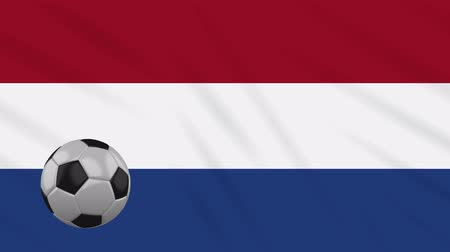 決勝 : Netherlands flag and soccer ball rotates against background of a waving cloth, loop