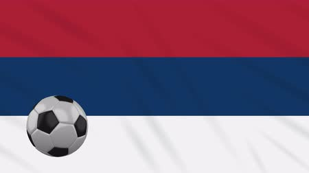 üç renkli : Serbia Civic flag and soccer ball rotates against background of a waving cloth, loop Stok Video