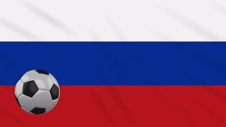 決勝 : Russian Federation flag and soccer ball rotates against background of a waving cloth, loop