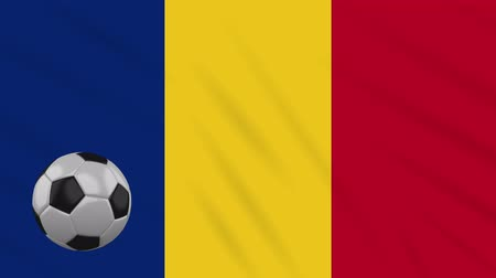 libbenő : Romania flag and soccer ball rotates against background of a waving cloth, loop