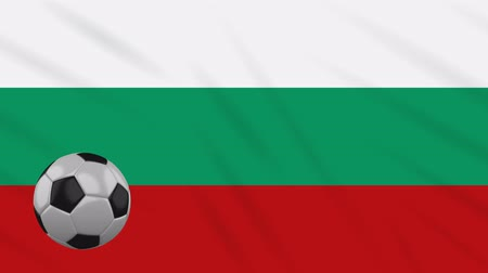 búlgaro : Bulgaria flag and soccer ball rotates against background of a waving cloth, loop Vídeos
