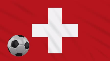 geneva : Switzerland flag and soccer ball rotates against background of a waving cloth, loop