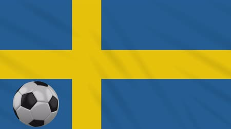 stockholm : Sweden flag and soccer ball rotates against background of a waving cloth, loop