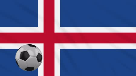 reykjavik : Iceland flag and soccer ball rotates against background of a waving cloth, loop