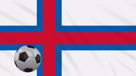torshavn : Faroe Islands flag and soccer ball rotates against background of a waving cloth, loop