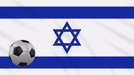 proportions : Israel flag and soccer ball rotates against background of a waving cloth, loop