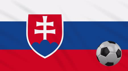Словакия : Slovakia flag and soccer ball rotates against background of a waving cloth, loop Стоковые видеозаписи