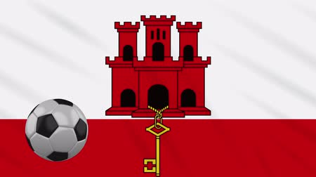iberian : Gibraltar flag and soccer ball rotates against background of a waving cloth, loop