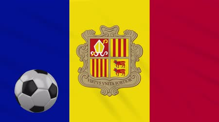 libbenő : Andorra flag and soccer ball rotates against background of a waving cloth, loop