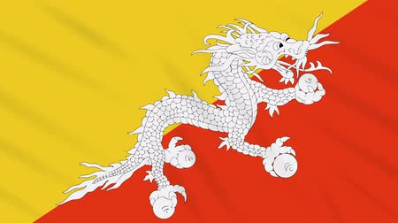 bhutan : Bhutan flag waving cloth, ideal for background, loop