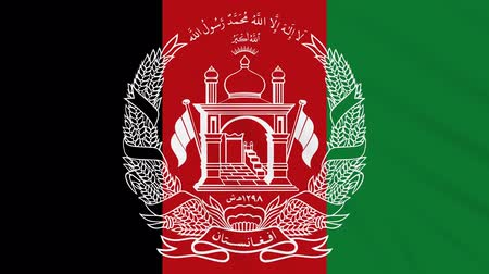 afghan : Islamic Republic Afghanistan flag waving cloth, ideal for background, loop Stock Footage