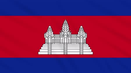 Ангкор : Cambodia flag waving cloth, ideal for background, loop Стоковые видеозаписи
