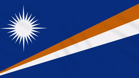 proportions : Marshall Islands flag waving cloth, ideal for background, loop Stock Footage