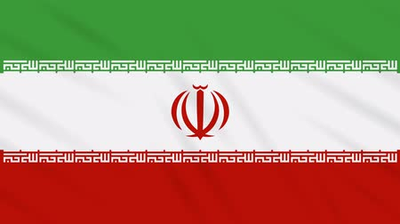 İslamiyet : Iran flag waving cloth, ideal for background, loop