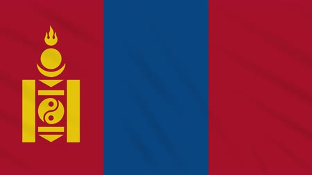 hilâl : Mongolia flag waving cloth, ideal for background, loop Stok Video